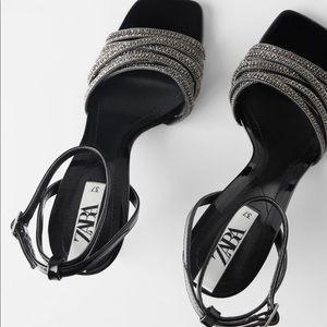 Zara heel sandals sparkle beads sz 7.5 euro 38 NWT